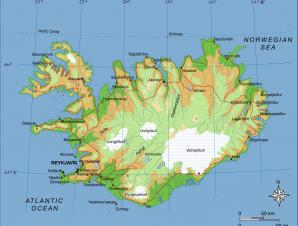 Kort over Island